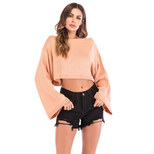 Fashion WomenS Sexy O-Neck Pullover Casual Long-Sleeved Autumn And Winter Off-The-Shoulder Short Sweater 5821