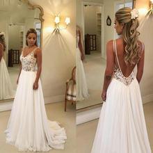 2020 Дешевое пляжное свадебное платье с кружевной аппликацией