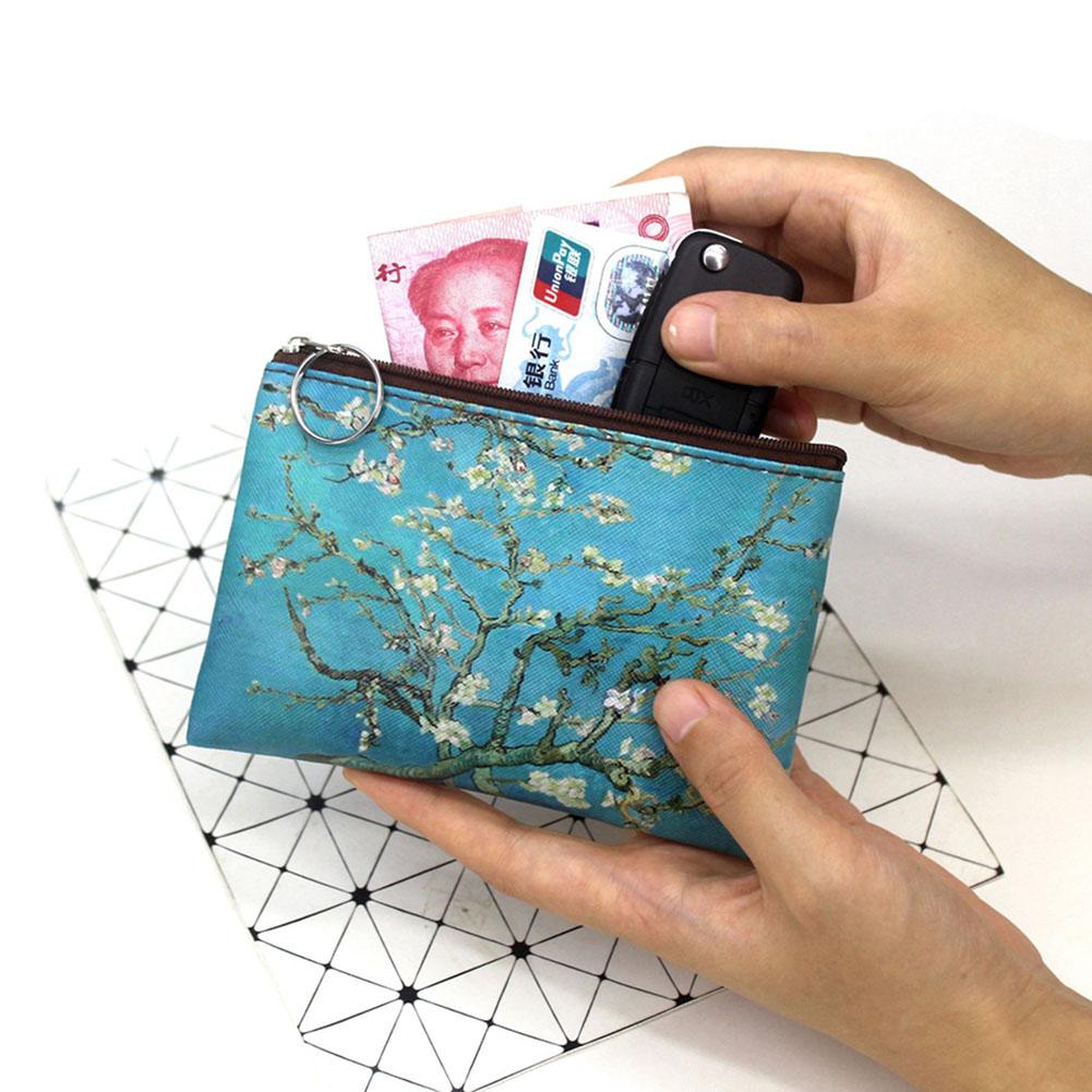 1 Pcs Mini Vintage Oil Painting Coin Purse Women Girls Fashion Printed PU Wallet Lipstick Portable Money Purse Pocket Bag New