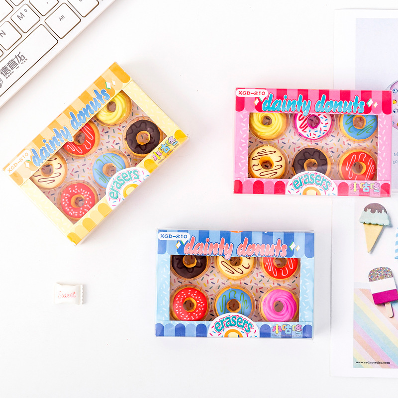 6Pcs/Lot Cute Donut Eraser Writting Rubber Eraser Primary School Student Bts Kawaii Dessert Eraser Promotional Gift Stationery