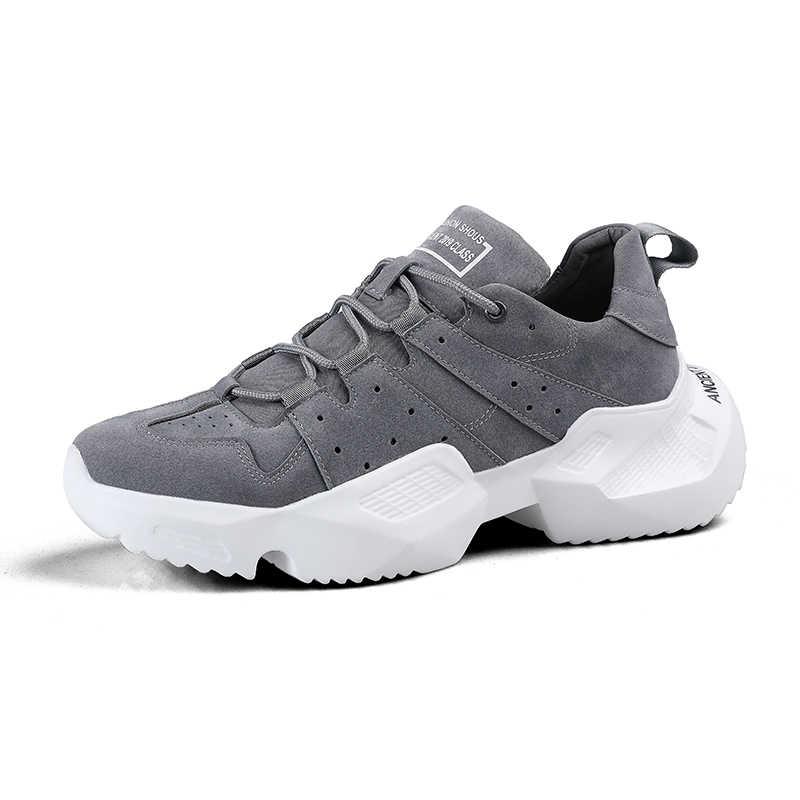 Kez Yeni Roma Açık spor ayakkabılar Erkek Inek Süet Düz Sneakers Nefes Tuval dantel-up Amortisör Koşu Erkek Ayakkabı