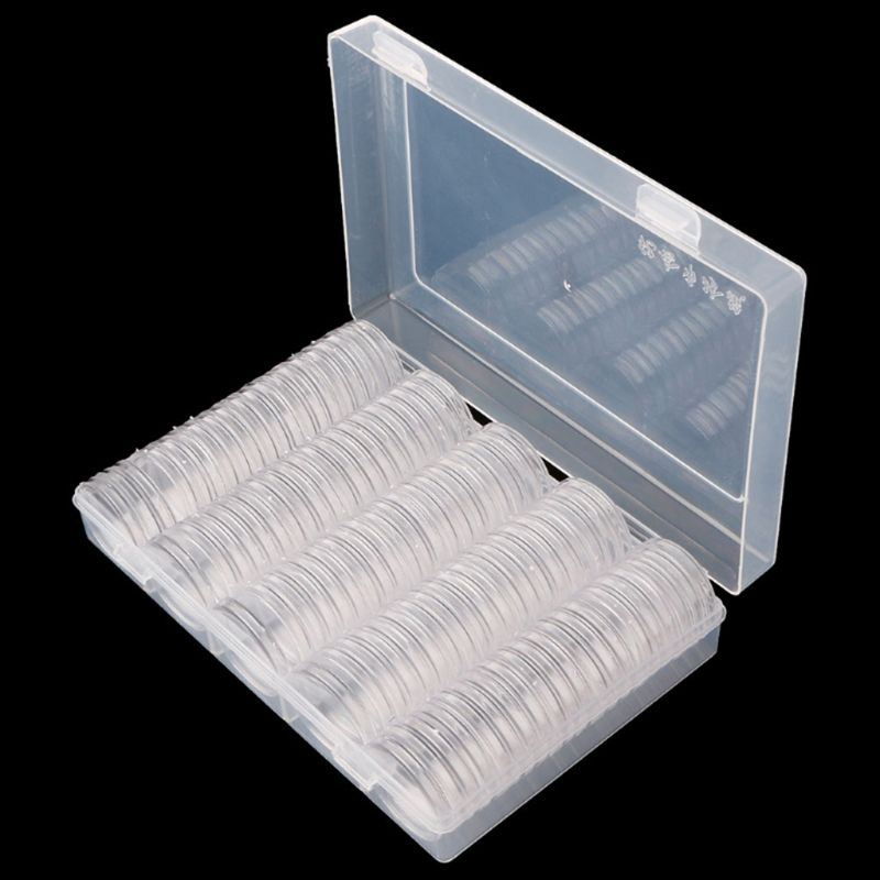 Rectangular Clear Plastic Storage Box Collection Case Protector For 100pcs 27mm/30mm Coin Capsules Holder Or 5pcs 27mm Coin Tube