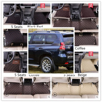 For TOYOTA LAND CRUISER PRADO 150 2010 2020 5 & 7 Seats Floor Mat Foot Carpets Car Step Mats High Quality Embroidery Leather