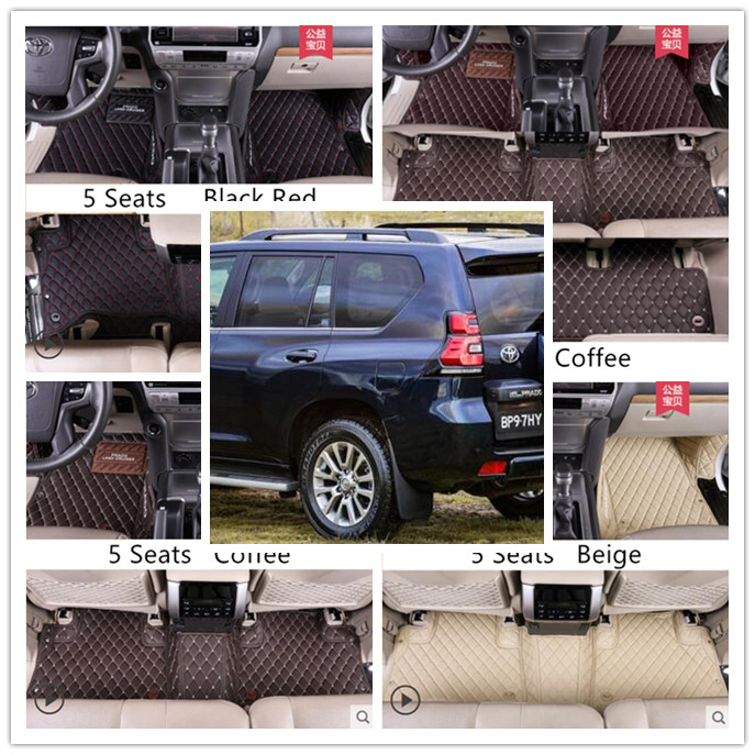 For TOYOTA LAND CRUISER PRADO <font><b>150</b></font> 2010-2020 5 & 7 Seats Floor Mat Foot Carpets Car Step Mats High Quality Embroidery Leather image