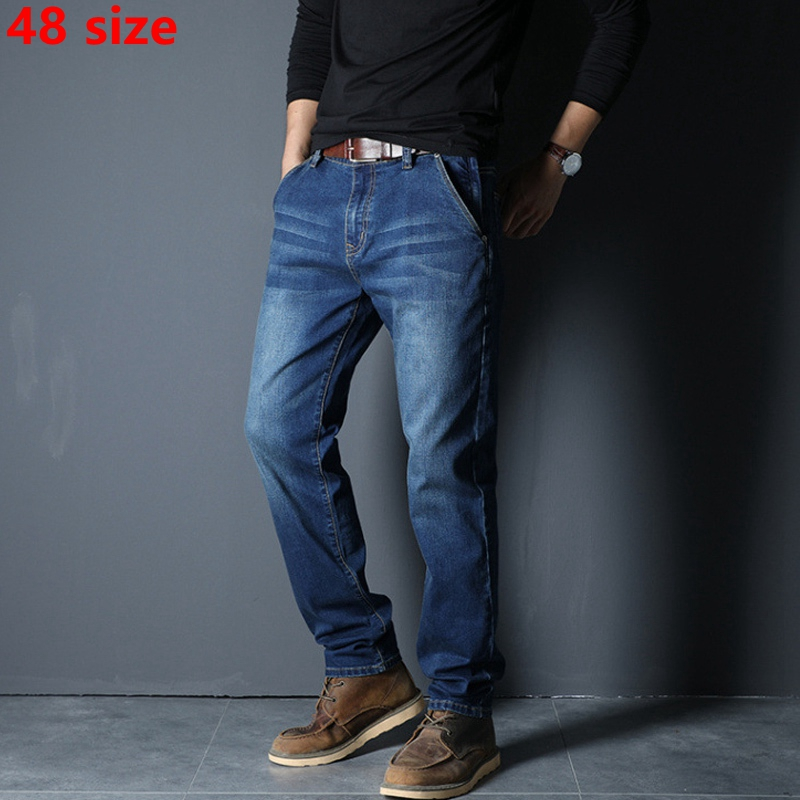 Autumn And Winter Models Elastic Zipper Pocket Jeans Men Straight Casual Black Plus Fertilizer XL Pants Big Size 48 Yards
