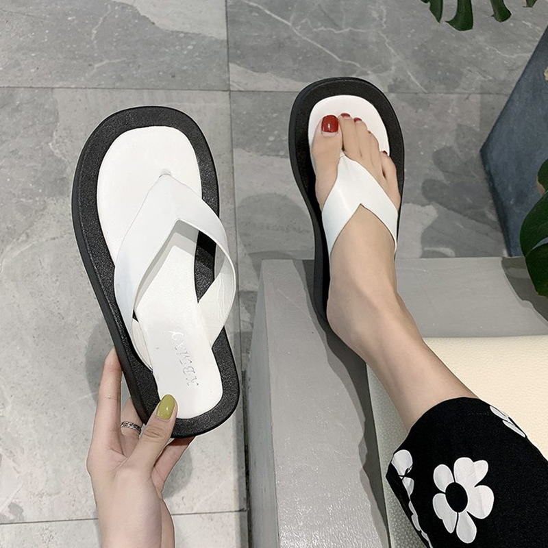 Rimocy Thick Bottom Clip-Toe Beach Slippers Women 2020 White Comfort Soft Sole Flat Slides For Woman Platform Flip Flops Ladies