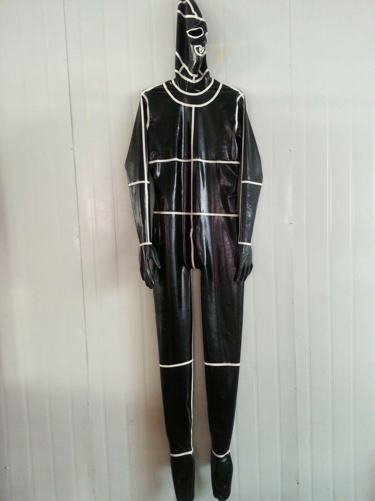 100% Latex caoutchouc mode body Spiderman uniforme costumes masque Ganzanzug Catsuit0.4mmS-XXL
