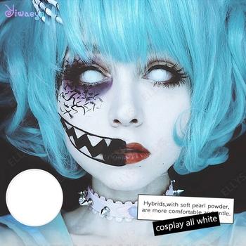 Wszystkie białe kolorowe okładki uczeń piękne soczewki kontaktowe czysty kolor Halloween Cosplay na makijaż oczu ścieżka 14 5mm roczny rzut tanie i dobre opinie yiwaeye 14 2mm Dwa Kawałki 0 04-0 06mm HEMA Piękne Uczeń Black White and White Sands Net
