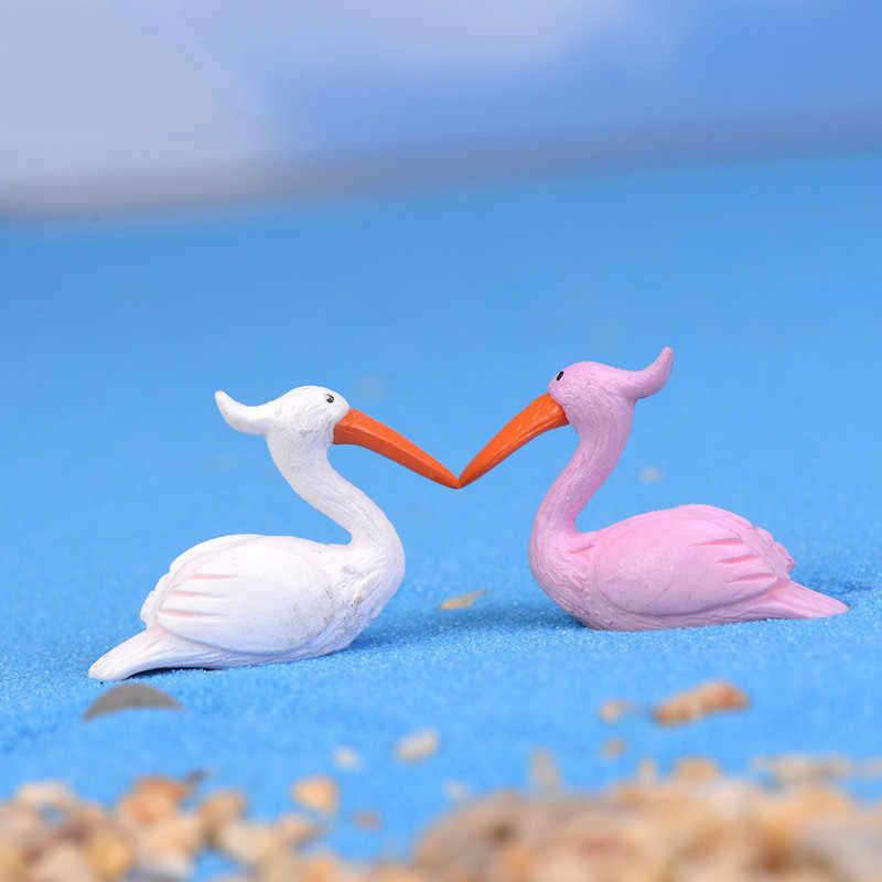 DIY Flamingo kuş tavşan sokak lambası mantar at el sanatları heykelcik saksı bahçe süs minyatür peri bahçe dekor