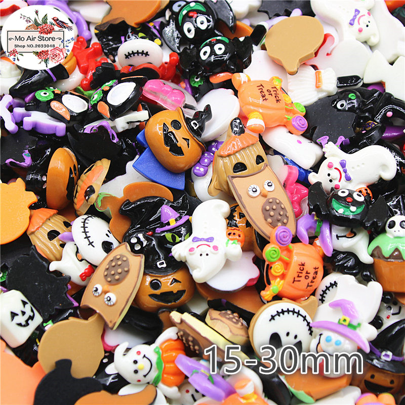 20pcs Mix Design Resin Halloween Pumpkin/ghost/skull Flat Back Cabochon Art Supply Decoration Charm Craft DIY Hair Bow Center