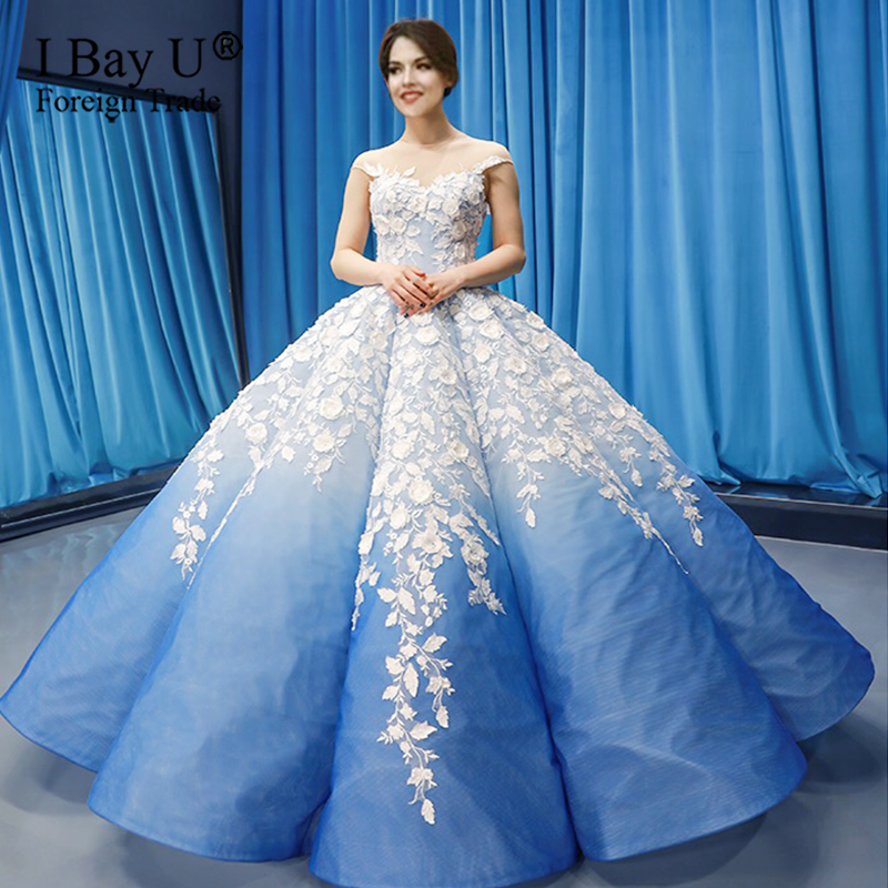 Luxury Navy Blue Latest Design Wedding Dresses 2020 3D Lace Puffy Pleating Sexy Bridal Gowns