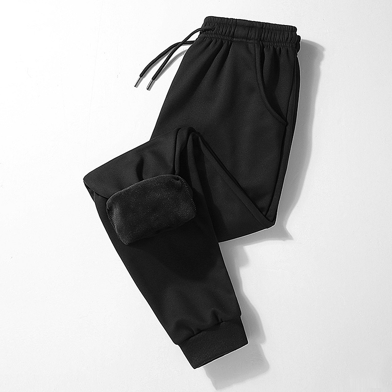 2019 winter men's plus velvet thick warm casual pants men's beam foot stretch pants men's large size sports casual long pants