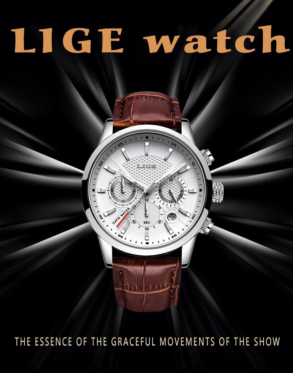 Hc3bf54c2f8894691b095b2c29bc2d060u LIGE 2020 New Watch Men Fashion Sport Quartz Clock Mens Watches Brand Luxury Leather Business Waterproof Watch Relogio Masculino