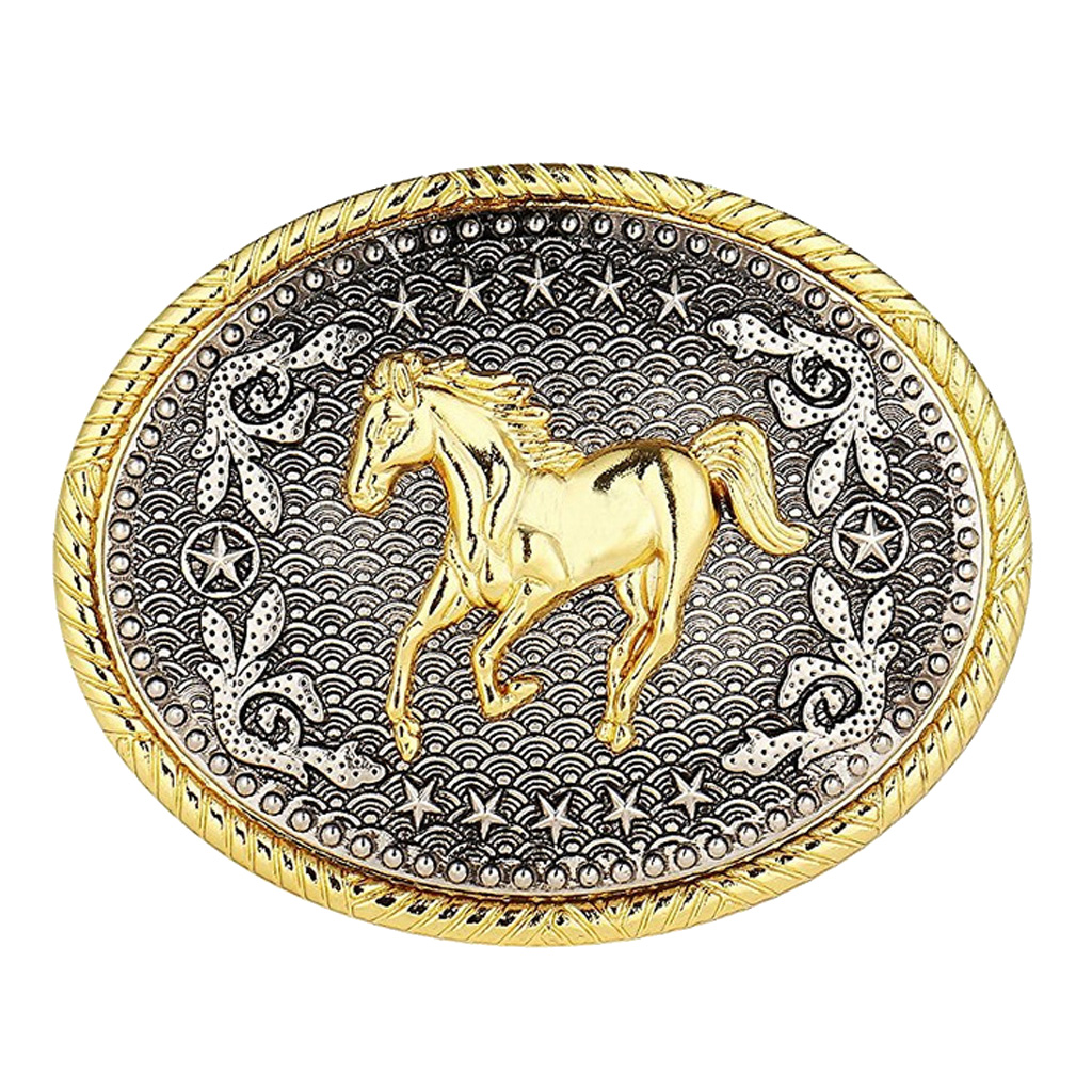 Rodeo Oval Floral Animal Horse Racing Belt Buckle Men Western Cowboy Buckle