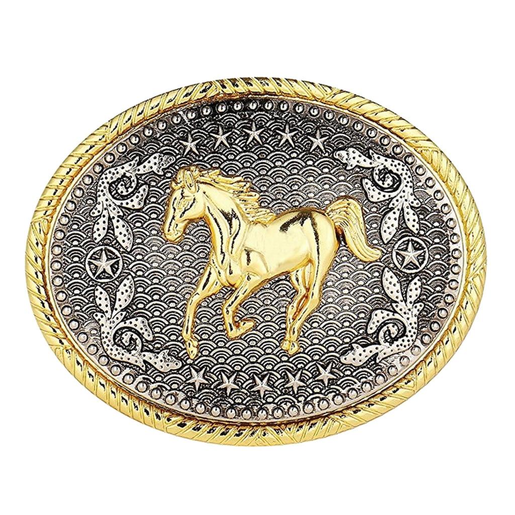 Rodeo Oval Floral Animal Horse Racing   Belt   Buckle Men Western Cowboy Buckle