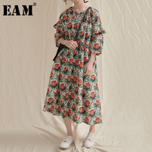 [EAM] Women Green Pattern Printed Long Big Size Dress New Round Neck Three-quart