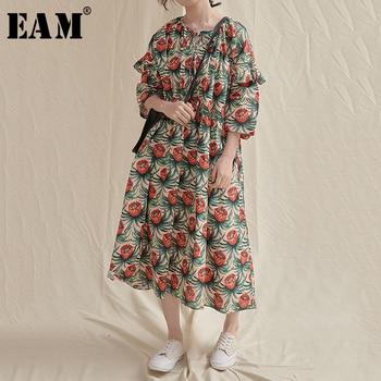 [EAM] Vestido largo de talla grande con estampado de patrón verde para mujer nuevo cuello redondo manga de tres cuartos suelto moda Primavera Verano 2020 1U760
