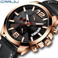 CRRJU الرجال ساعة كلاسيك الأعمال كرونوغراف حقيقية ساعة يد بحزام من الجلد موضة مقاوم للماء الرياضة أسود ساعة التقويم