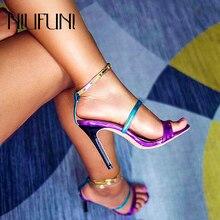 цены NIUFUNI 2019 Plus Size 35-42 Mixed Color Women's Sandals Stiletto High Heels Belt Buckle Party Women's Shoes Sandales Femmes