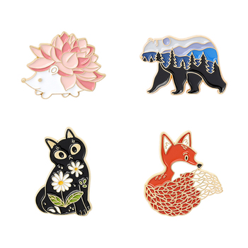 Beauty Contest Animal Brooches Pin Lovely Hedgehog Beautiful Fox Gentle cat Honest Bear Trendy Badge Bag Clothing Accessories image