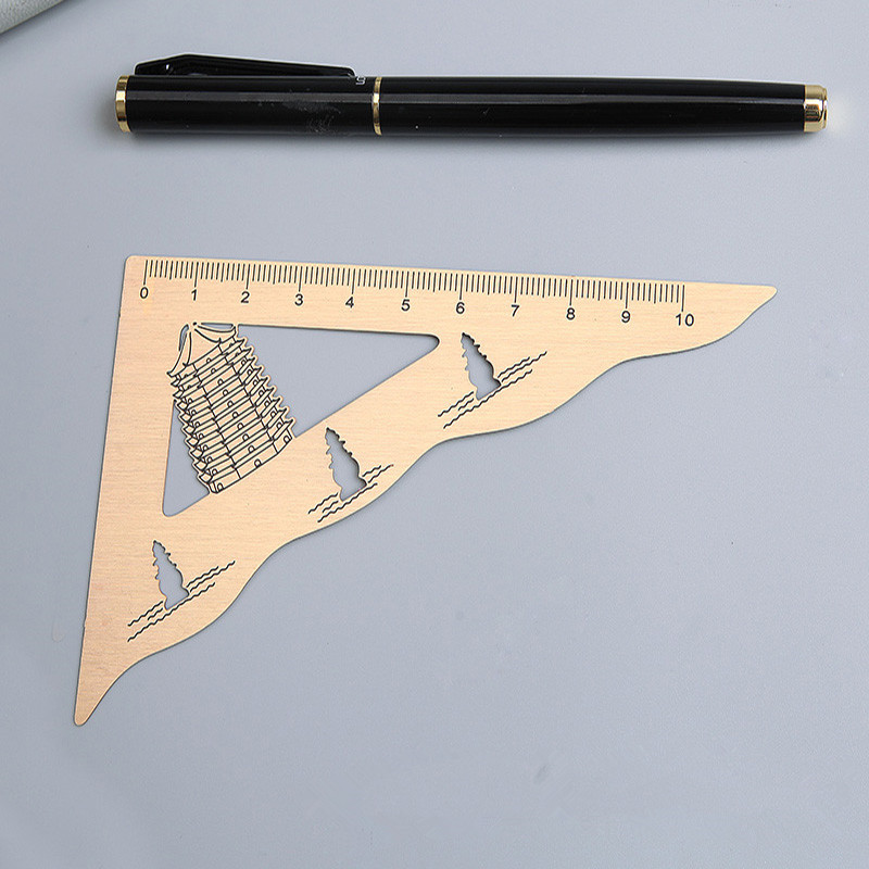 Metal Triangle Ruler Retro Rulers Bookmark Scale Stationery Student Office Business Fine Gift Drawing Accurate Measurement Tool