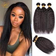 Бразильские кудрявые прямые пряди волос Солнечный свет натуральные кудрявые пучки волос пряди человеческих волос для наращивания 1B # Non-Remy 3...