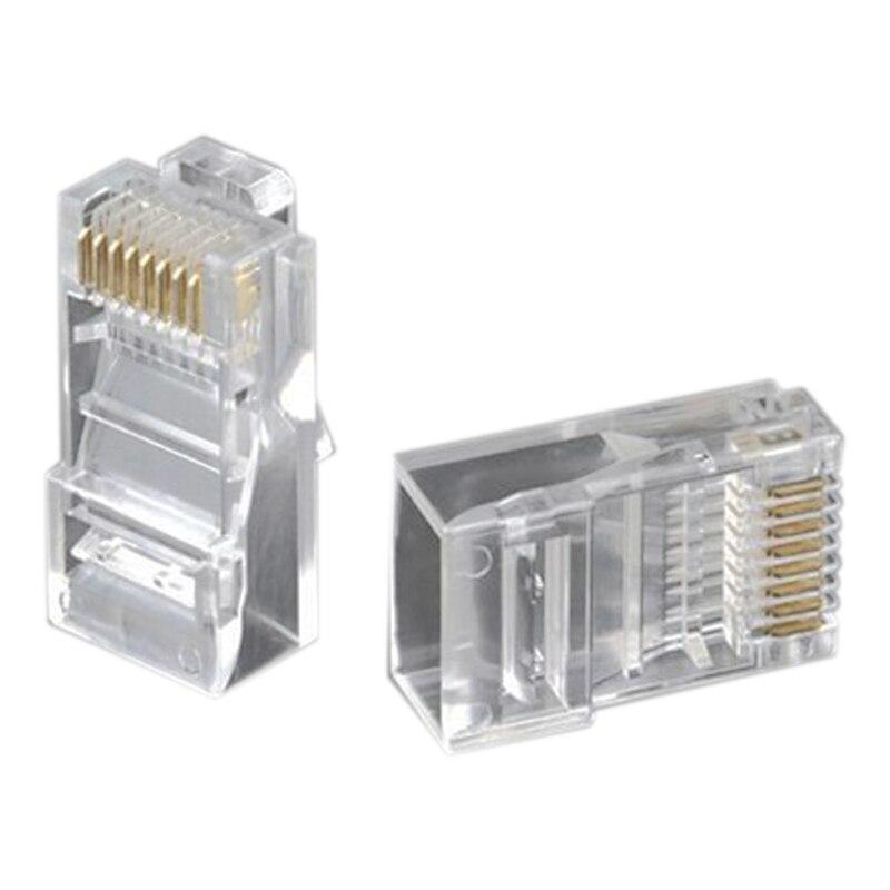 1000 шт. Кристалл головка RJ45 восемь ядер 8P8C кабельный терминал прозрачный модульный разъем позолоченный сетевой разъем