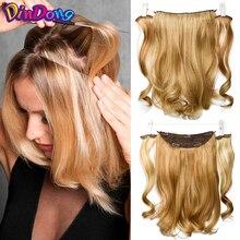 DinDong, 18 дюймов, синтетические переворачивающиеся волосы, волнистые волосы на заколках для наращивания, натуральные волосы, настоящие волосы для наращивания с рыбьей линией
