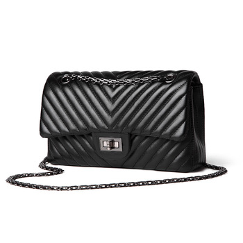 2020 Fashion Quilted Leather Chain Handbag Women's Luxury Shoulder Bags Branded Famous Black Double Flap Crossbody Bag for Women janeke black quilted travel bag medium
