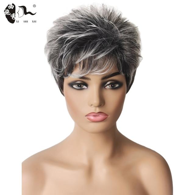 XISHIXIU HAIR Women Wig Silver Grey White Ombre Synthetic Short Layered Curly Hair Puffy Bangs Short Wavy Hair Short Wavy Hair