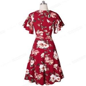Image 3 - Nice robe florale élégante, avec manches à volants, ligne a daffaires, évasé pour femmes, A193, printemps