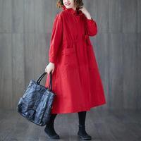 Korean Style Women Trench Coat Pockets Loose Size Solid Color Windbreaker