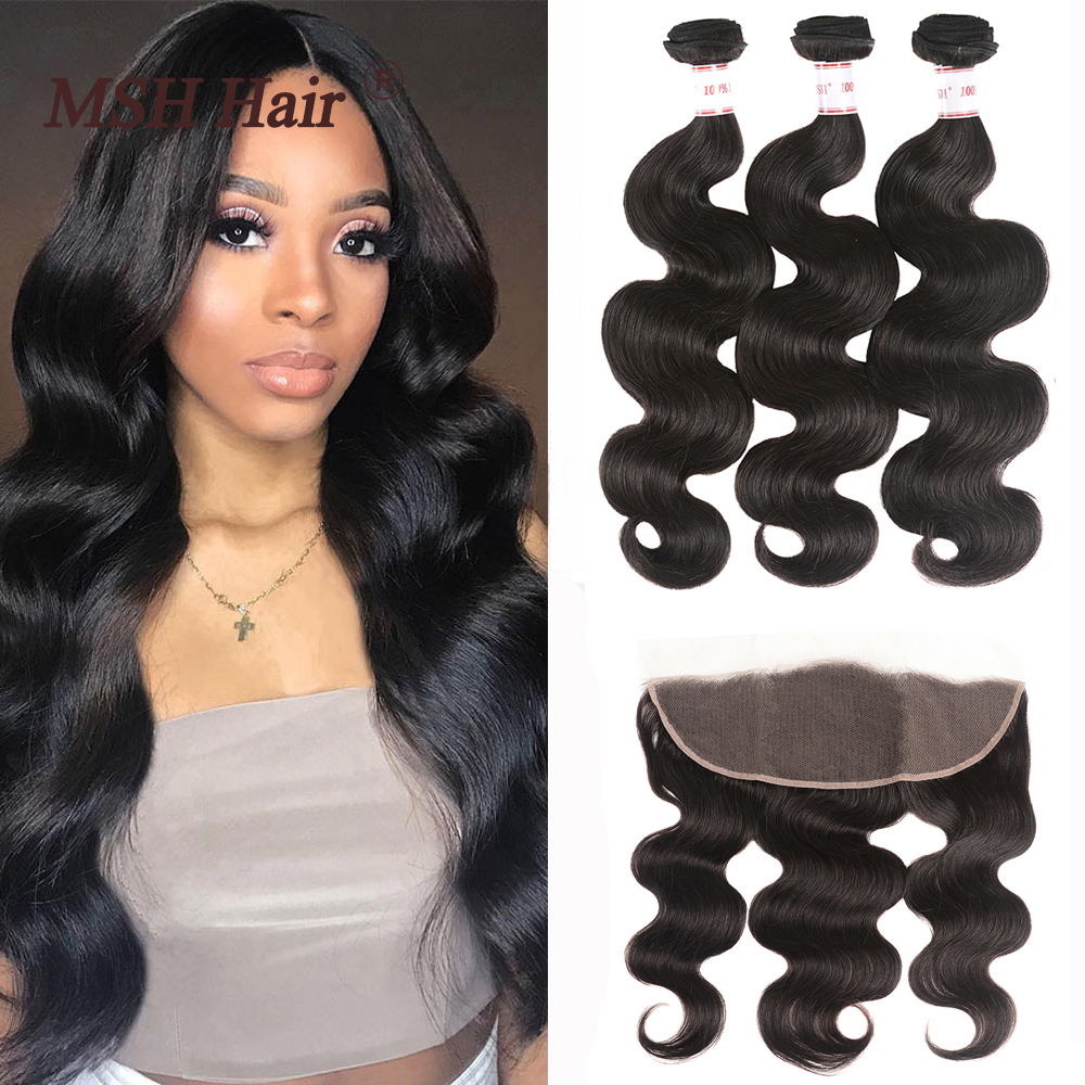MSH Hair 13x4 Lace Frontal Closure With Bundles Brazilian Body Wave Human Hair Bundles With Lace Closure Non-Remy Medium Ratio(China)