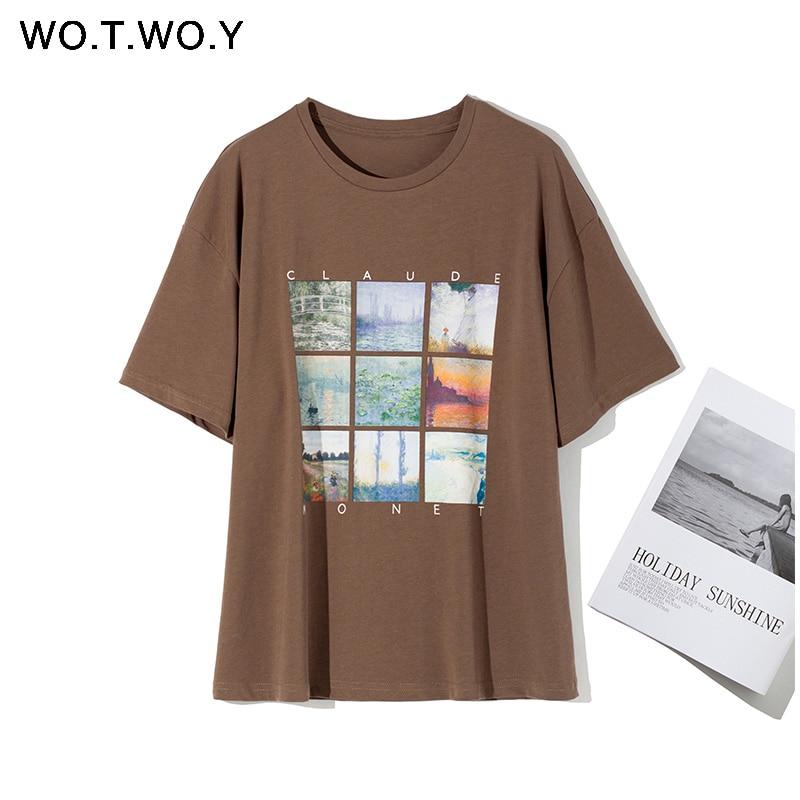 WOTWOY Summer Print Painting T-shirt Women Casual Loose Basic Tees Women Knitted Cotton Tee Shirt  Female Korean Tops Harajuku