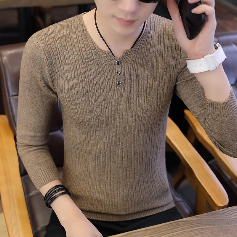 In 2019, Men's Sweaters With Tight Men's Collars, Men's Autumn Clothes And Men's Long-sleeved Sweaters With Tight Men's Collars