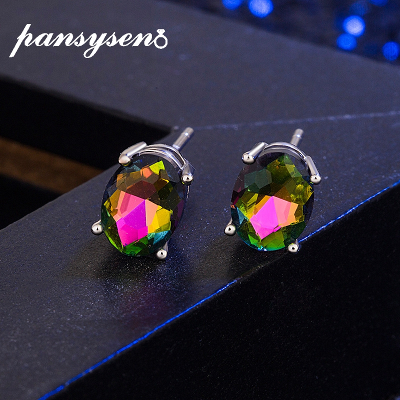 PANSYSEN Brand Oval Topaz Pink Quartz Created Opal Stud Earrings For Women 925 Sterling Silver Girl's Fashion Jewelry Earring