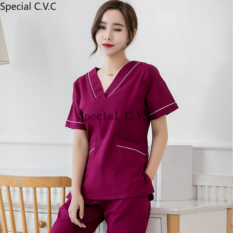Women's Fashion Beauty And Health Uniforms Pure Cotton Scrub Top Color Blocking Design V Neck Shirt With Big Pockets(Just A Top)