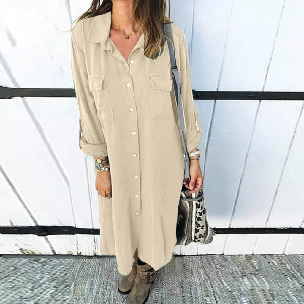 Women's Fashion Lapel Shirt Solid Color Button Loose Dress 100% New Fashion Personality Design Good Softness Material Dress