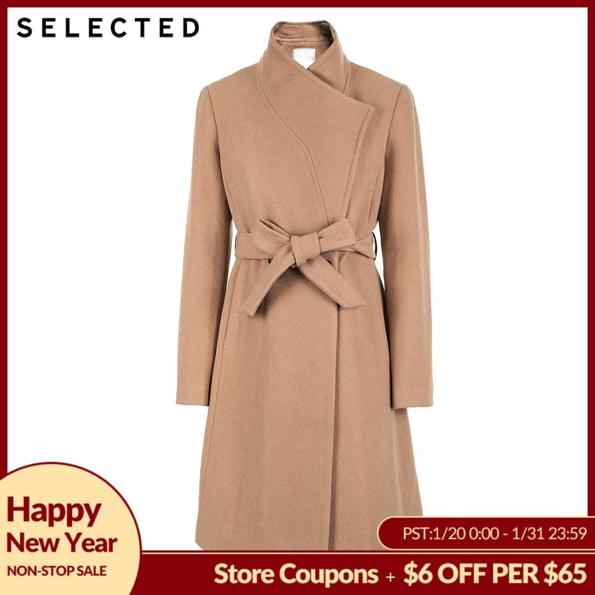SELECTED Autumn And Winter New Women's Wool Tie-up Long Wool Coat SIG|418427523