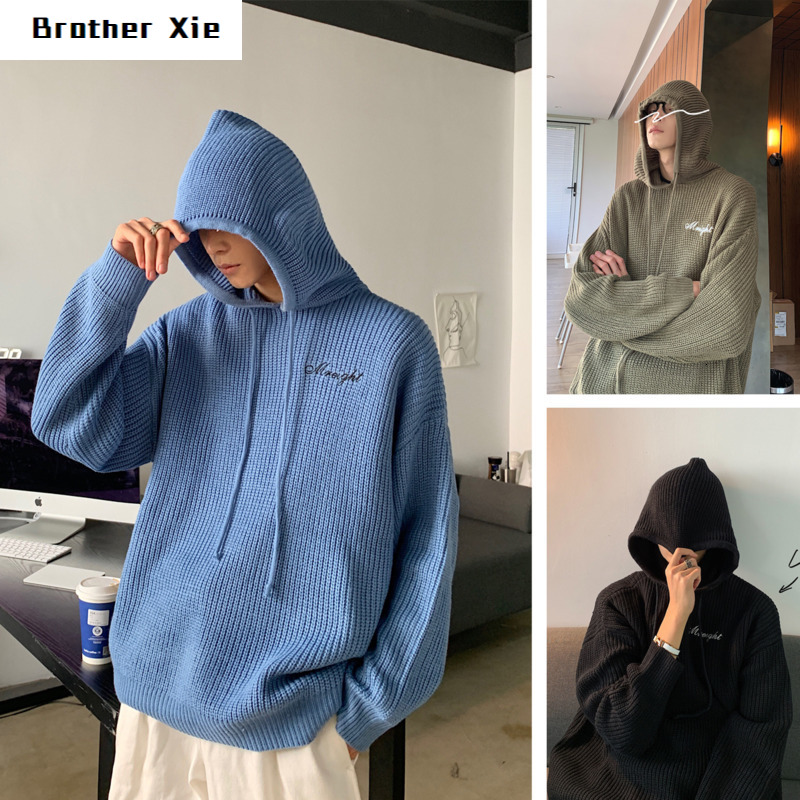 Hooded Sweater Men's Warm Fashion Solid Color Casual Knit Pullover Man Sweter Wild Loose Long-sleeved Sweater Male Clothes