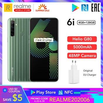Купить Realme 6i 4 Гб RAM 128 ГБ ROM мобильный телефон Глобальная версия 5000 мАч аккумулятор 6,5 дюймHelio G80 48MP камера Play Store NFC Многоязычная