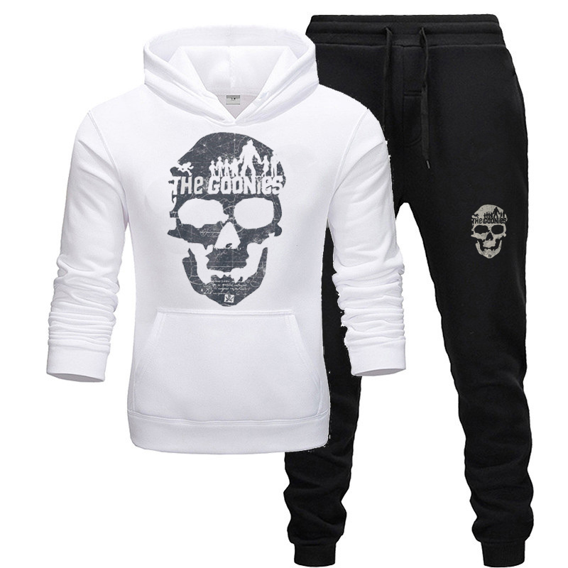 Men Hoodies Skull Print TrackSuit Sport Jacket Fall Spring Suit Set Trousers Pants Jogging Outfits