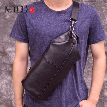 AETOO Chest bag male leather Korean version of the shoulder diagonal package personality vintage cylinder bag men's first layer aetoo new leather leather korean version of the wave of shoulder bags simple leisure travel bag backpack