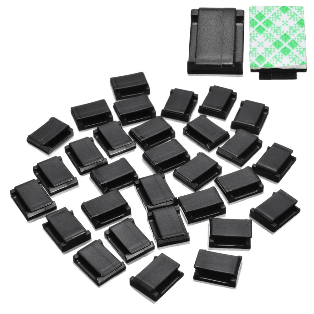 30Pcs <font><b>Car</b></font> Wire Tie <font><b>Clip</b></font> Fixer <font><b>Organizer</b></font> Black and white color Clamp Cord <font><b>Cable</b></font> Line Holder Self <font><b>Adhesive</b></font> image