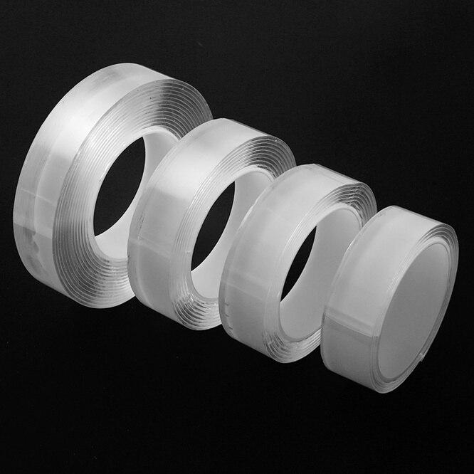 1/3/5m forte não-marcação magia acrílico transparente dupla-face esparadrapo nenhum traço fita adesiva reutilização impermeável limpa