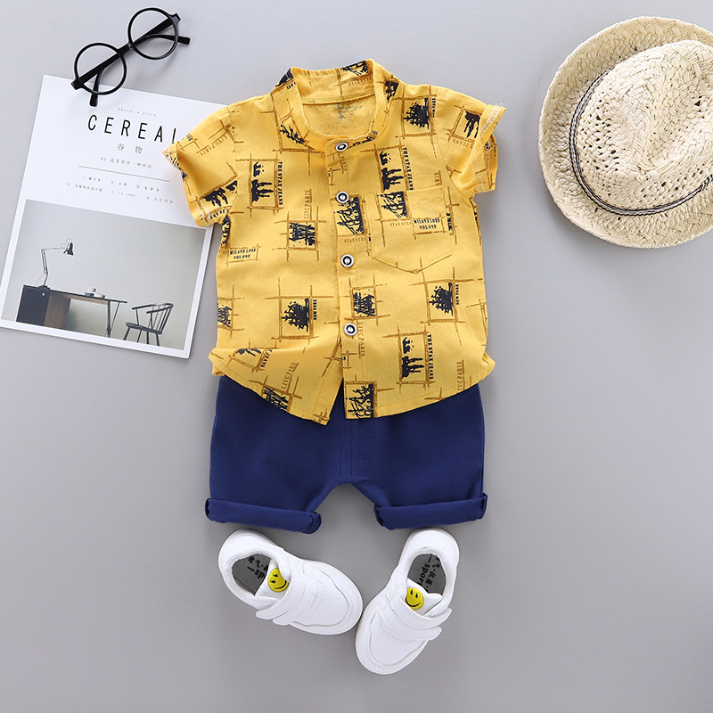 Baby Boy Clothes Summer New Short Sleeve Cartoon Geometric Printing Cotton Baby Two-piece Shirt Suit Short Sleeve Casual Suit