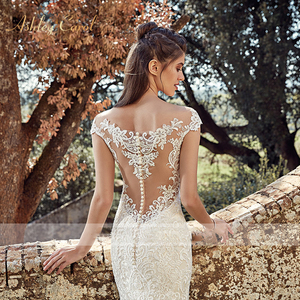 Image 5 - BAZIIINGAAA  Elegant Lace Mermaid Wedding Dress Full Floral Print Lace Up Church Suitable for Wedding Africa Europe Bride