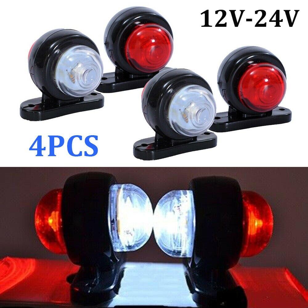 4x автомобиль грузовик светодиодный красный, белый 12 V/24 V боковые габаритные светильник контур лампы аксессуары