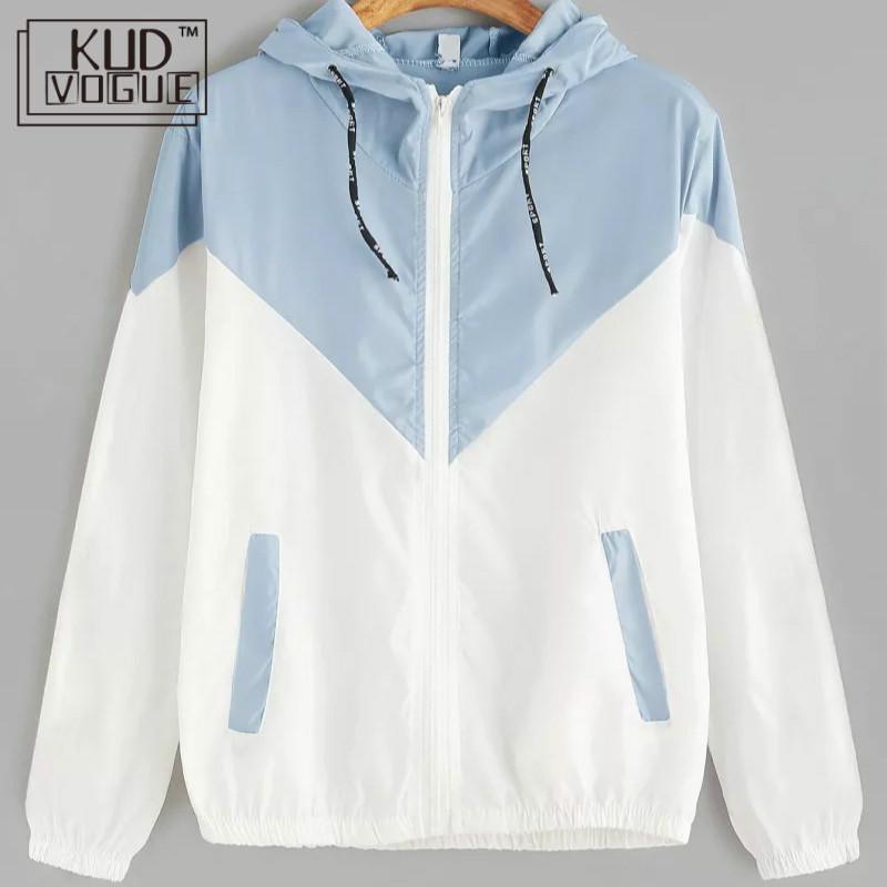 KUDVOGUE Hooded Sweatshirt Windbreaker Jacket Zipper Pockets 2019 Autumn Fashion Casual Long Sleeve Female Jacket Coats Outwear