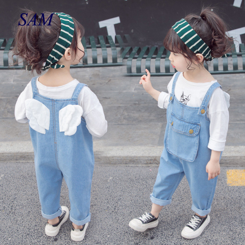 Baby Girls Fashion Spring Denim Overalls Cute Back Wings Pocket Jeans For Children Kids Loose Trousers Pants Clothes